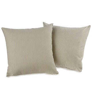 Ticking Stripe Black Decorative Throw Pillows (set of 2)
