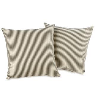 Ticking Stripe Black Decorative Throw Pillows (set of 2)