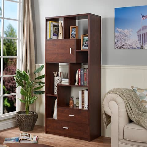 Junipe Contemporary Vintage Walnut Multifunctional Bookcase by FOA