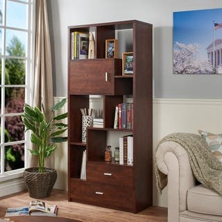 Furniture of America Junipe Vintage Walnut Multifunctional Bookcase|https://ak1.ostkcdn.com/images/products/9821344/P16986231.jpg?impolicy=medium