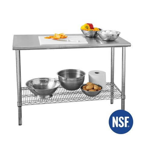 Seville Classics 49 in x 24 in Commercial NSF Stainless Steel Top Worktable