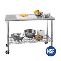 49 in x 24 in Commercial NSF Stainless Steel Top Worktable