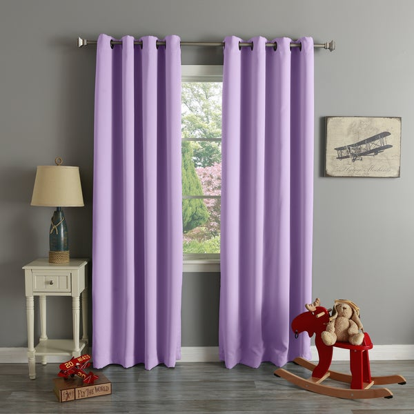 Aurora Home Thermal Insulated Blackout Grommet Top 84-inch Curtain ...