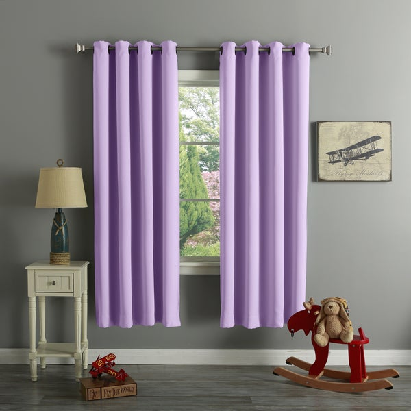 aurora home grommet top thermal insulated blackout curtain panel pair
