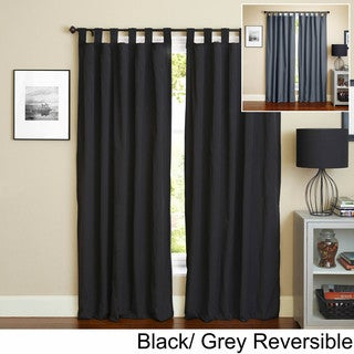 "Blazing Needles 108-inch Twill Insulated Blackout Two-Tone Reversible Curtain Panel Pair - 108""/52 x 108"