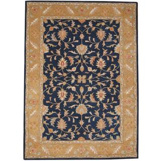 Herat Oriental Indo Hand-tufted Mahal Navy/ Gold Wool Rug (8' x 11')