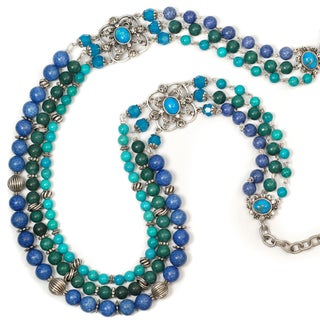 Sweet Romance Blue and Turquoise Hardstone Three Strand Necklace