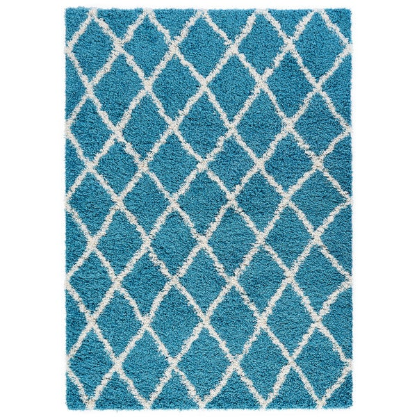Beni Ourain Inspired Contemporary Moroccan Trellis Design Shaggy Area Rug (5' x 7') - 5' x 7'