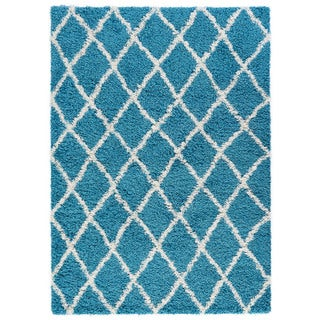 Beni Ourain Inspired Contemporary Moroccan Trellis Design Shaggy Area Rug (5' x 7')