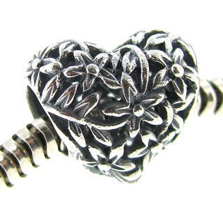 Queenberry Sterling Silver Tree of Love Flower Heart Filigree Valentine European Bead Charm