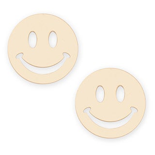 14k Yellow Gold Smiley Stamping Stud Earrings