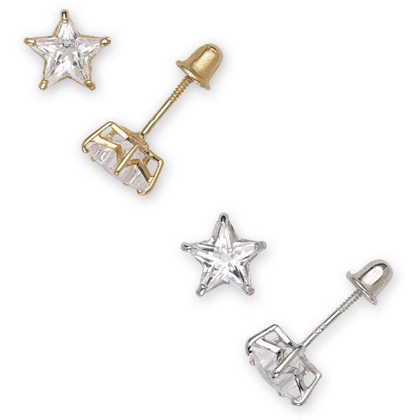 628cc9e1c Shop 14k Gold Cubic Zirconia Star Stud Earrings - On Sale - Free Shipping  Today - Overstock - 9821723