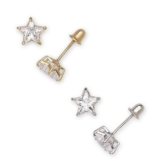 14k Gold Cubic Zirconia Star Stud Earrings