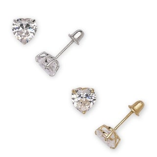 14k White Gold Heart-cut Cubic Zirconia Stud Earrings (2 options available)