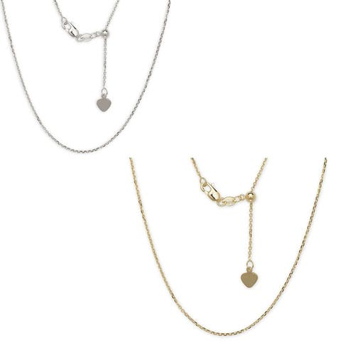 10k Gold Polished Adjustable Cable Chain