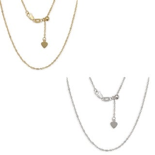 10k Gold Diamond-cut Singapore Adjustable Chain