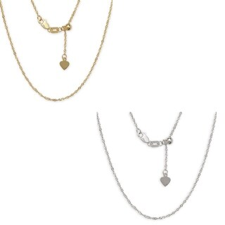 10k Gold Diamond-cut Singapore Adjustable Chain (2 options available)