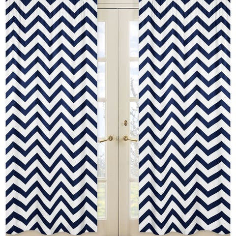Sweet Jojo Designs Navy Blue and White 84-inch Window Treatment Curtain Panel Pair for Navy Blue and White Chevron Collection