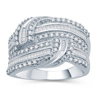 Sterling Silver 1ct TDW White Diamond Twisted Ring