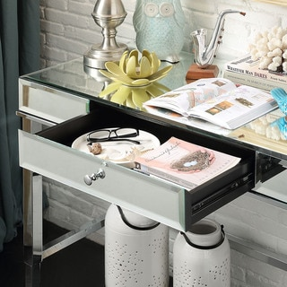 Camille Beveled Mirrored Accent 1-drawer Office Writing Desk by INSPIRE Q