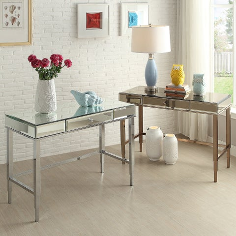 Camille Beveled Mirrored Accent 1-drawer Office Writing Desk by iNSPIRE Q Bold