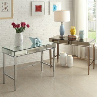 Camille Beveled Mirrored Accent 1-drawer Office Writing Desk by iNSPIRE Q Bold (2 options available)