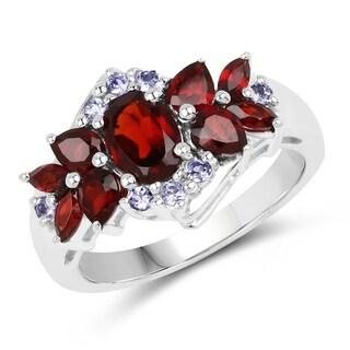 Olivia Leone 2.39 Carat Genuine Garnet and Tanzanite .925 Sterling Silver Ring