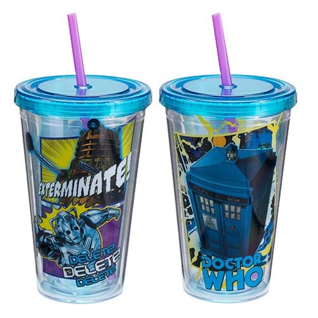 Doctor Who Tardis Dalek Cyberman Acrylic Travel Cup (Clea...