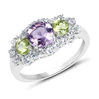 Olivia Leone 1.98 Carat Genuine Amethyst, Peridot and Blue Topaz .925 Sterling Silver Ring