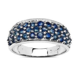 Malaika 1.70 Carat Genuine Blue Sapphire .925 Sterling Silver Ring