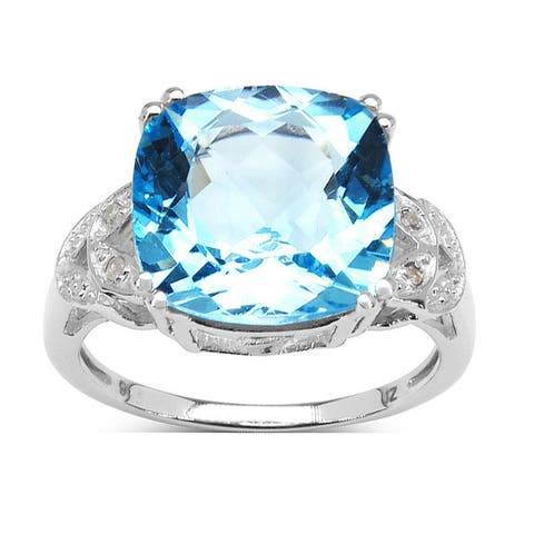 Malaika 6.97 Carat Genuine Blue Topaz & White Diamond .925 Sterling Silver Ring