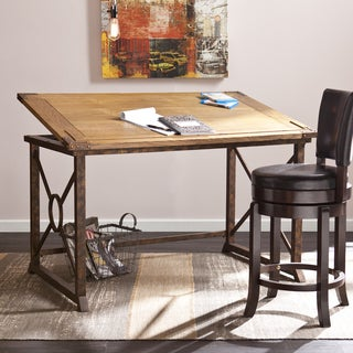 Harper Blvd Kaden Weathered Oak/Antique Brass-finished Industrial-style Tilt-top Drafting Desk