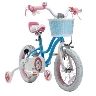 Royalbaby Stargirl Girls Bike with Training Wheels and Basket, Best Gifts for Girls, 12 inch wheels, Blue or Pink