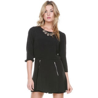 Stanzino Women's Black Long Sleeve Skirted Romper
