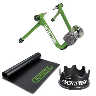 Kinetic T-2200 New Road Machine 2.0 Fluid Trainer + Kinetic Rubber Bicycle Trainer Floor Mat + Kinetic Fixed Riser Ring