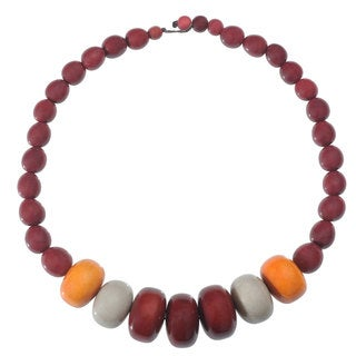 Faire Collection Manabi Seed and Tagua Necklace in Burgundy (Ecuador)