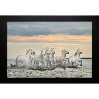 Xavier Ortega 'Camargue Horses- France' Framed Artwork