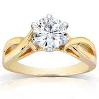 Annello by Kobelli 14k Yellow Gold 1 Carat 6-prong Round Moissanite (HI) Solitaire Crossover Engagement Ring