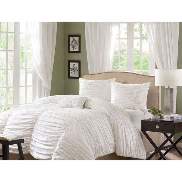 Madison Park Catalina 4-piece White Duvet Cover Set - Full/ Queen (As Is Item)