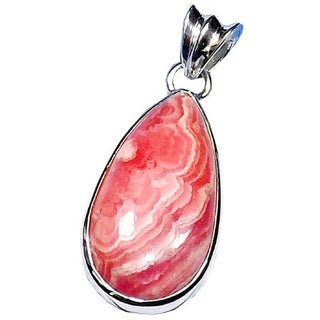 Handmade Sterling Silver Rhodochrosite Pendant (India) - Pink