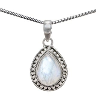 Sterling Silver Rainbow Moonstone Pendant (India)