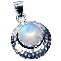 Handmade Hammered Sterling Silver Rainbow Moonstone Pendant (India) - White