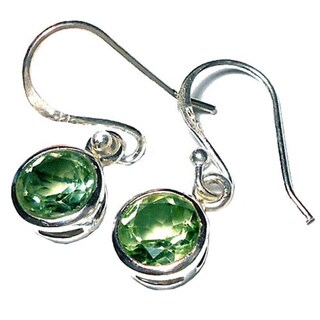 Hand-crafted Sterling Silver 2ct TGW Faceted Gemstone Earrings (India)