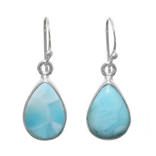 Hand-crafted Sterling Silver 4ct TGW Larimar Earrings (India) - Blue
