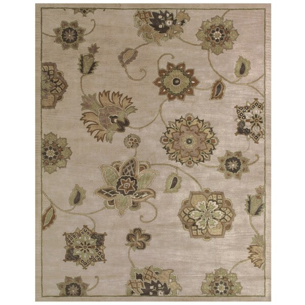 "Grand Bazaar Tufted 100-percent Wool Pile Mantra Rug in Dark Beige 9'-6"" x 13'-6"""