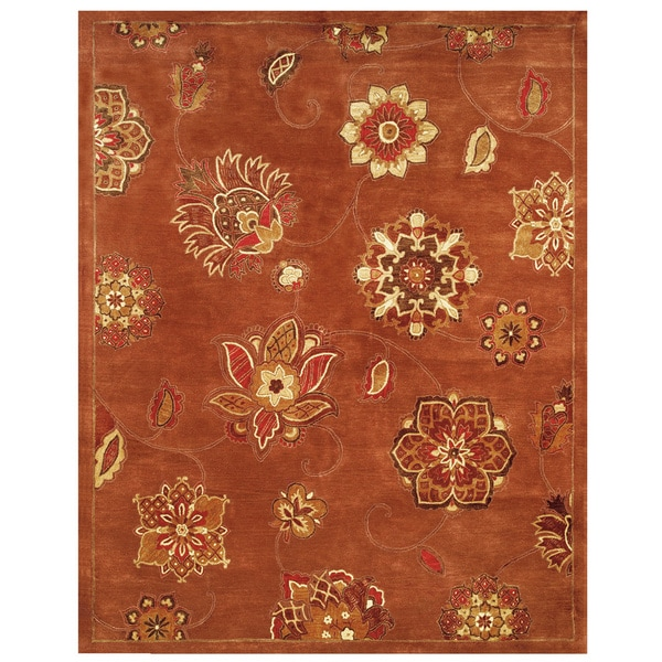 "Grand Bazaar Tufted 100-percent Wool Pile Mantra Rug in Red 9'-6"" x 13'-6"""