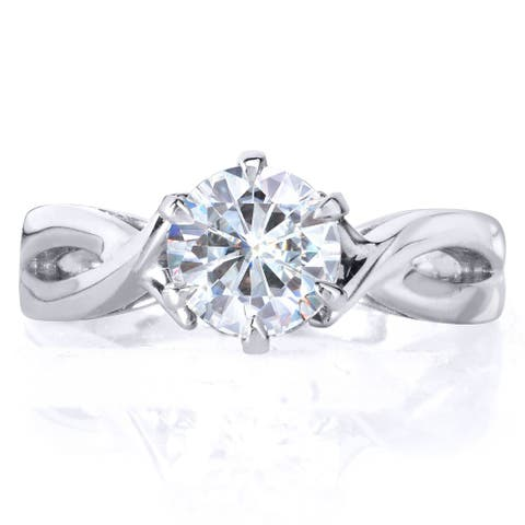 Annello by Kobelli 14k White Gold 1 Carat 6-prong Round Moissanite Solitaire Crossover Engagement Ring