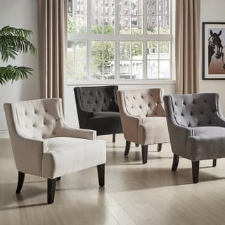 antique living room chairs. Tess Wingback Tufted Linen Upholstered Club Chair by iNSPIRE Q Classic Vintage Living Room Chairs For Less  Overstock com