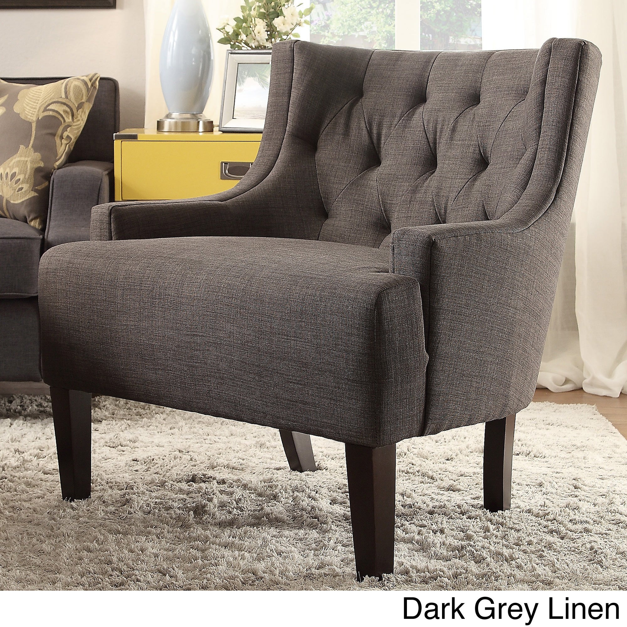 Tess Wingback Tufted Linen Upholstered Club Chair By INSP.