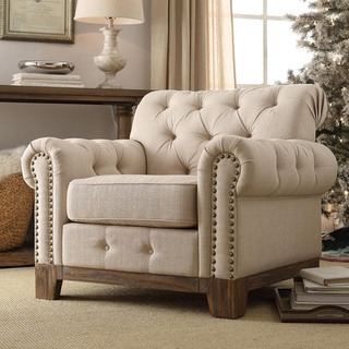 SIGNAL HILLS Greenwich Tufted Scroll Arm Nailhead Beige Chesterfield Chair